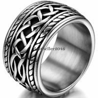 Wide Biker Men Stainless Steel Thumb Eternity Knot Ring Punk Band Size 7-11