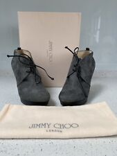 Brand New Jimmy Choo Wedge Boots Suede Baxter, Smoke In Size EU36