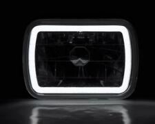 "7x6"" H4 Black CCFL Halo Glass Projector Headlight Conversion w/ Bulbs Pair JEEP"