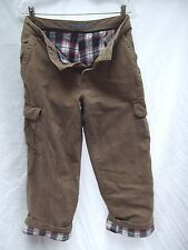 vtg Old Navy khaki tan cargo pant red plaid flannel lined 31x31 button pockets