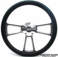 "14"" Billet Aluminum Black Wrap Steering Wheel Set Chevy Camaro SS 1967 Chevrolet"