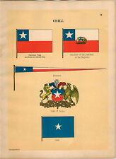 1899 2 PG Chili Coat Of Arms President Of Republic Maritime Ship Flag PRINT
