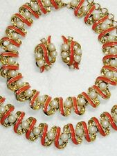 1950's Salmon Enamel & Faux Pearl Necklace Bracelet Earrings~Parure~ Set