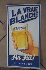 """Tin Metal Beer Sign (Large) Hoegaarden """"La Vraie Blanche""""  32""""x 17.5""""  NEW"""