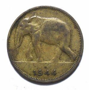 1944, Congo (Belgian), 1 Franc, Leopold III, VF, Brass, KM# 26, Lot [34]