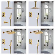 """Bathroom 8"""" Golden Shower Head Valve Faucet Hand Shower Hot & Cold Mixer Set"""