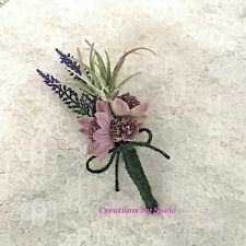 Wedding Buttonhole~Scottish Inspired~Rustic~Artificial Heather/Astrantia/Fern