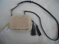 MICHAEL KORS Jet Set Travel Sm Shearling Leather Trim Crossbody Hand Bag *new*