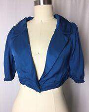 SCANLAN & THEODORE Blue Bolero Crop 3/4 Sleeve Jacket Medium Large