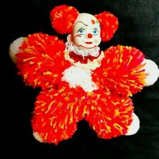 Made By Hand Porcelain Face Hand Painted Wool Vintage Clown Collectible Brazil