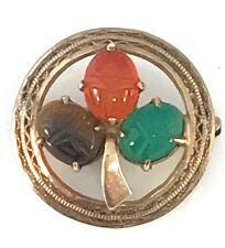 Vintage We Richards Designer 12K Gold Filled Scarab Clover pin / Brooch