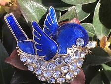 Enamel Blue Bird Pin Brooch Clear Crystal Rhinestones Bridal Wedding Vintage Art