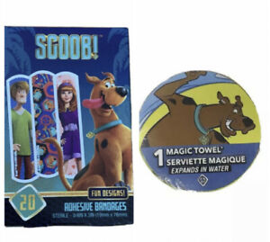 New ScoobyDoo Set - Band-Aids + Magic Towel - Expands in Water + 1 Bonus Sticker