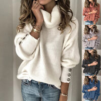 Plus Size Womens Knitted Long Sleeve Pullover Sweater Jumper Warm Casual Tops