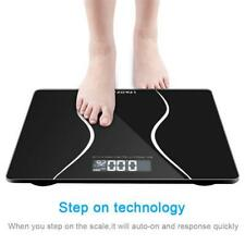 1pc Portable Smart Weight Scale Black Digital Toughened Glass Home Bathroom
