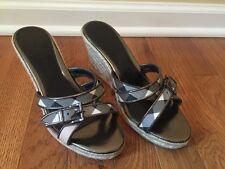 Burberry Nova Plaid Espadrille Wedge Sandals Shoes Heels Authentic 37.5 / 7.5 US