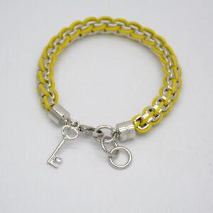 Lia sophia jewelry Yellow leather wrap bangle silver tone lobster bracelet