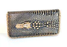 PORTAFOGLIO NERO ORO BRONZO donna borsello pochette strass clutch bag borsa F130