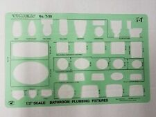 "Timely Bathroom Fixtures PlumbingTemplate Stencil 1/2"" Scale T39 Made in Usa"