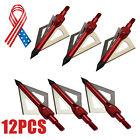 12X Arrow Point Tips Arrowheads Bow Hunting Archery 100Grain 3Blades Broadheads
