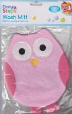 First Steps Baby Bath Wash Mitt Flannel Cloth Glove Novelty Colourful Owl Gift