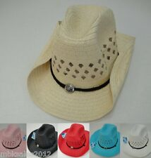 Bulk 60pc Colored Straw MESH Cowboy Cowgirl Western Hat w/ Chin Straps