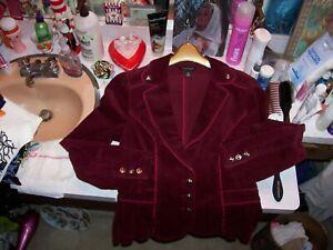 women's gorgeous sz 10 White House Black Market burgundy corduroy blazer jacket