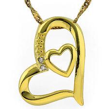 Small Heart Pendant W/Genuine Diamond in Platinum over Y 925 Sterling Silver