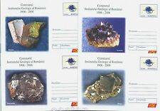2006 Minerals,Ametiste,Marcasite,Ortose,Pyrites,Minerales,Romania,4 PS covers