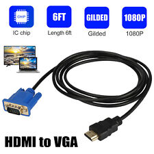 New listing 6Ft Hdmi Male to Vga Male Video Converter Adapter Cable for Pc Dvd 1080P Tv Hdtv