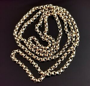 Antique Victorian 9ct gold rolo link chain necklace, 26 inch