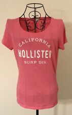 HOLLISTER Womens Pink Embroidered Cali Surf Division Short Slv T Shirt Small EUC