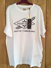 Mens Levis Levi Justin Timberlake Fresh Leaves T Shirt Top White Medium M NEW