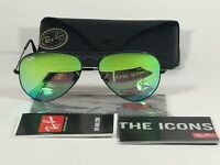 Authentic Ray-Ban Aviator Sunglasses RB3025 Black Green Gradient Flash Lens 58mm
