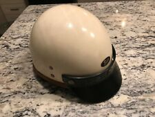 Vintage 50's 60's BUCO Motorcycle Half Shell Helmet with Green Visor Chin Strap