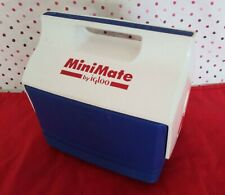 MiniMate by IGLOO Blue and White Personal Size Cooler / Lunch Box 1990s EUC