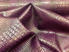 Luxurious crocodile design upholstery vinyl fabric faded purple . Sold by the ya