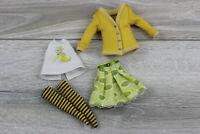 Blythe doll shirt white banana print jacket yellow skirt dress socks clothes