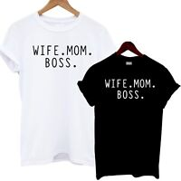 Wife Mom Boss T Shirt Slouch Fit Powerful Lady Unisex Tee Girl Cute Mother Sassy