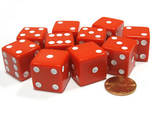 Set of 10 Large Six Sided Square Opaque 19mm D6 Dice - Red with White Pip Die