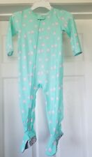 NWOT Infant Girls Carter's Mint Green With Pink Owl Print One Piece Sleeper 24M