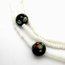 Beaded Necklace Vintage Black Art Glass Small White Beads Floral Flowers 48""