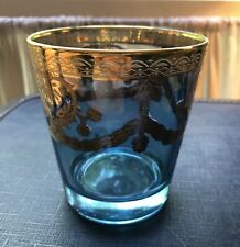 Vintage Preziosi Cocktail Lowball Scotch Blue Glass Hand Made Italy Barware