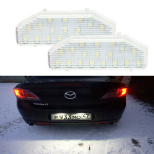 For 2004-2011 Mazda RX8 RX-8 6 White SMD LED License Plate Lights Tag Lamp Pair