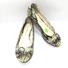 Women's Karen Scott Snake Print Horsebit Peep Toe Low Wedge Heel Pumps 7.5 M