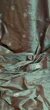 "Green Two Tone Floral Beaded 100% Silk Dupion Fabric 42"" PRICE PER METER"