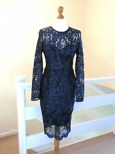 Lipsy Navy BlueLace Dress Size 10