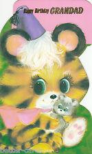 Happy Birthday Grandad Vintage 1970s Greeting Card ~ Cute Big Eyed Tiger Cub Cat