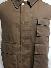 Ralph Lauren Polo Chaps Leather Collar Brown Heavy Lined Sleeveless Vest Men's L
