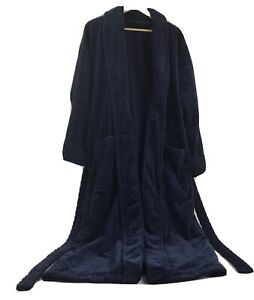 Croft & Barrow Turkish Bath Robe Mens One Size Thick Heavy Cotton Dark Blue